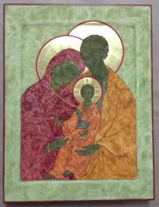 Holy Family icon in progress